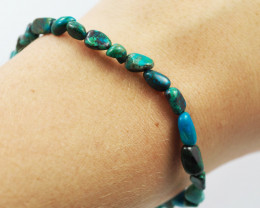 Natural   Free Form Chrysocolla Bead Bracelet  AM 686