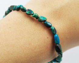 Natural   Free Form Chrysocolla Bead Bracelet  AM 686