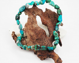 Natural   Free Form Chrysocolla Bead Bracelet  AM 684