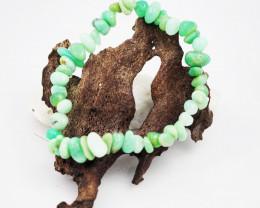 Natural   Free Form Chrysoprase  Bead Bracelet  AM 634