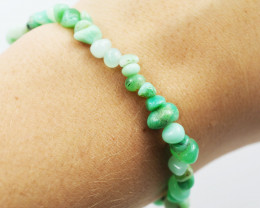 Natural   Free Form Chrysoprase  Bead Bracelet  AM 635
