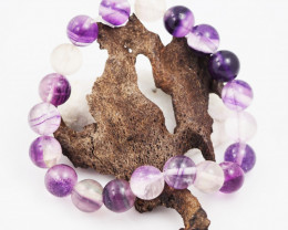 Natural  10 mm Fluorite Bead Bracelet  AM 688