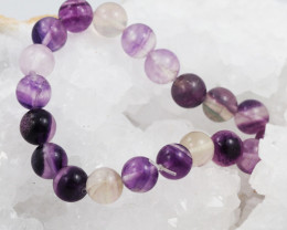 Natural  10 mm Fluorite Bead Bracelet  AM 690
