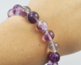 Natural  10 mm Fluorite Bead Bracelet  AM 691