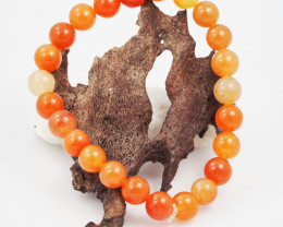 Natural 9  mm Carnelian Bead Bracelet  AM 692