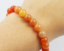 Natural 9  mm Carnelian Bead Bracelet  AM 693