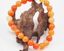 Natural 9  mm Carnelian Bead Bracelet  AM 694