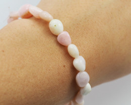 Natural Free Form Pink Peru Opal Bead Bracelet  AM 697