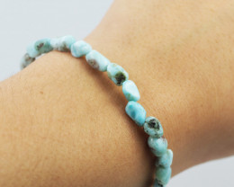 Natural Free Form Larimar  Bead Bracelet  AM 703