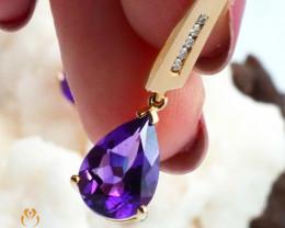 Stylish Amethyst & Diamonds Gemstones in Gold Earrings - E 4127 4750