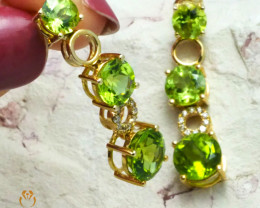 Stylish Peridot & Diamonds Gemstones in Gold Earrings - E 9169 5950