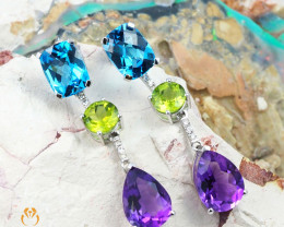 Natural Multi Stone  gemstone earrings