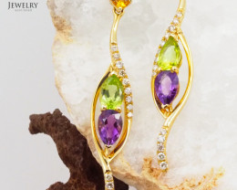 Stylish Assorted Gemstones & Diamonds in Gold Earrings - E 10323 7100