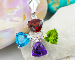 Stylish Colorful Assorted Gemstones & Diamonds in Gold Pendant - P 6806