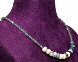 Picasso Jasper & Labradorite Faceted Beads Necklace