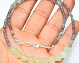 Green Aventurine & Labradorite Faceted Beads Necklace