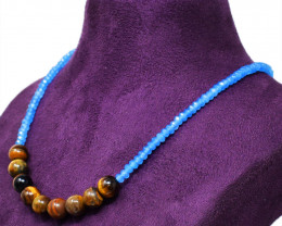 Golden Tiger Eye & Blue Apatite Beads Necklace