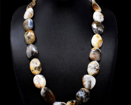 Dendrite Opal Beads Necklace - 20  Inches Long