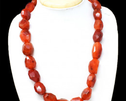 Orange Carnelian Faceted Beads Necklace