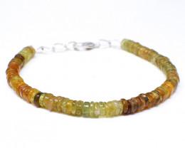 Green Garnet Round Beads Bracelet