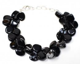 Snow Flakes Obsidian Beads Bracelet