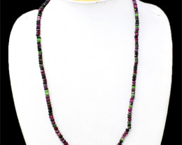 Genuine Ruby Zoisite Faceted Beads Necklace