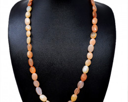 Peach Moonstone Oval Shape Beads Necklace