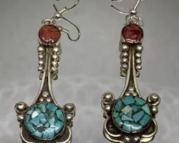 Vintage Tibetian Design Earrings Coral & Torquise