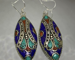 Vintage Tibetian Design Earrings Coral, Lapis & Torquise