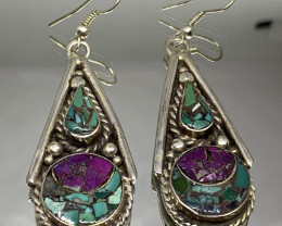 Vintage Tibetian Design Earrings Torquise