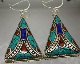 Vintage Tibetian Design Earrings Coral, lapis  & Torquise