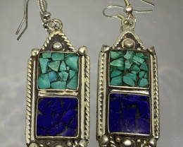 Vintage Tibetian Design Earrings  Lapis & Torquise