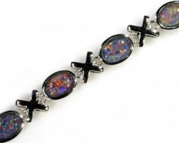 Fire Opal triplet Bracelet , top design sterling silver SB 617