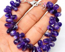 Bi-Color Amethyst Pear Shape Beads Bracelet