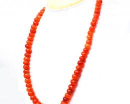 Orange Carnelian Round Beads Necklace