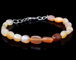 Peach Moonstone Oval Shape Beads Bracelet