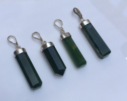 4 Pcs Of Natural  Nephrite Pendents With Silver