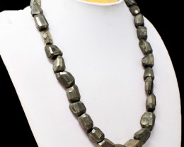 Golden Pyrite Tumble Faceted Necklace