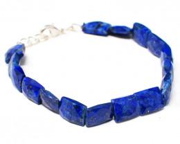 Genuine 105.00 Cts Lapis Lazuli Faceted Beads Bracelet
