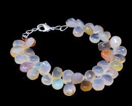 Pear Shape Chalcedony Beads Bracelet
