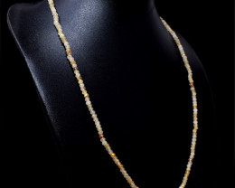 Genuine 55.00 Cts Golden Rutile Quartz Faceted Beads Necklace