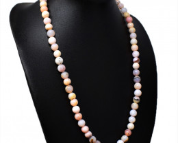 Pink Australian Opal Round Shape Beads Necklace