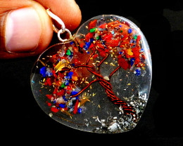 Mix Gem Orgone Heart Pendant