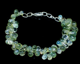 Green Aquamarine Tear Drop Beads Bracelet
