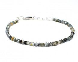 Genuine 25.00 Cts Cat'ds Eye Faceted Beads Bracelet