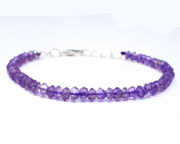 Purple Amethyst Faceted Beads Bracelet