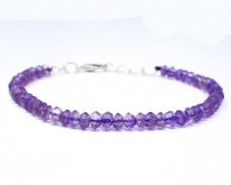 Purple Amethyst Faceted Beads Bracelet