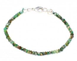 Green Peruvian Opal Faceted Beads Bracelet