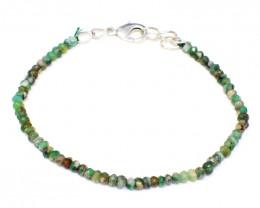 Green Peruvian Opal Faceted Beads Bracelet