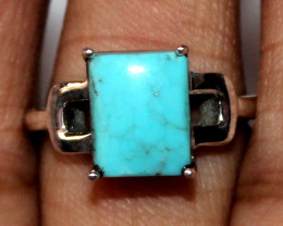 Natural 925 Sterling Silver Sleeping Beauty Turquoise Ring Size (US 7) 96